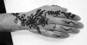 cherry blossom henna hand design