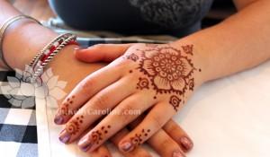 henna flower hand design