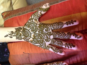 Henna tattoo on hand, henna hand design