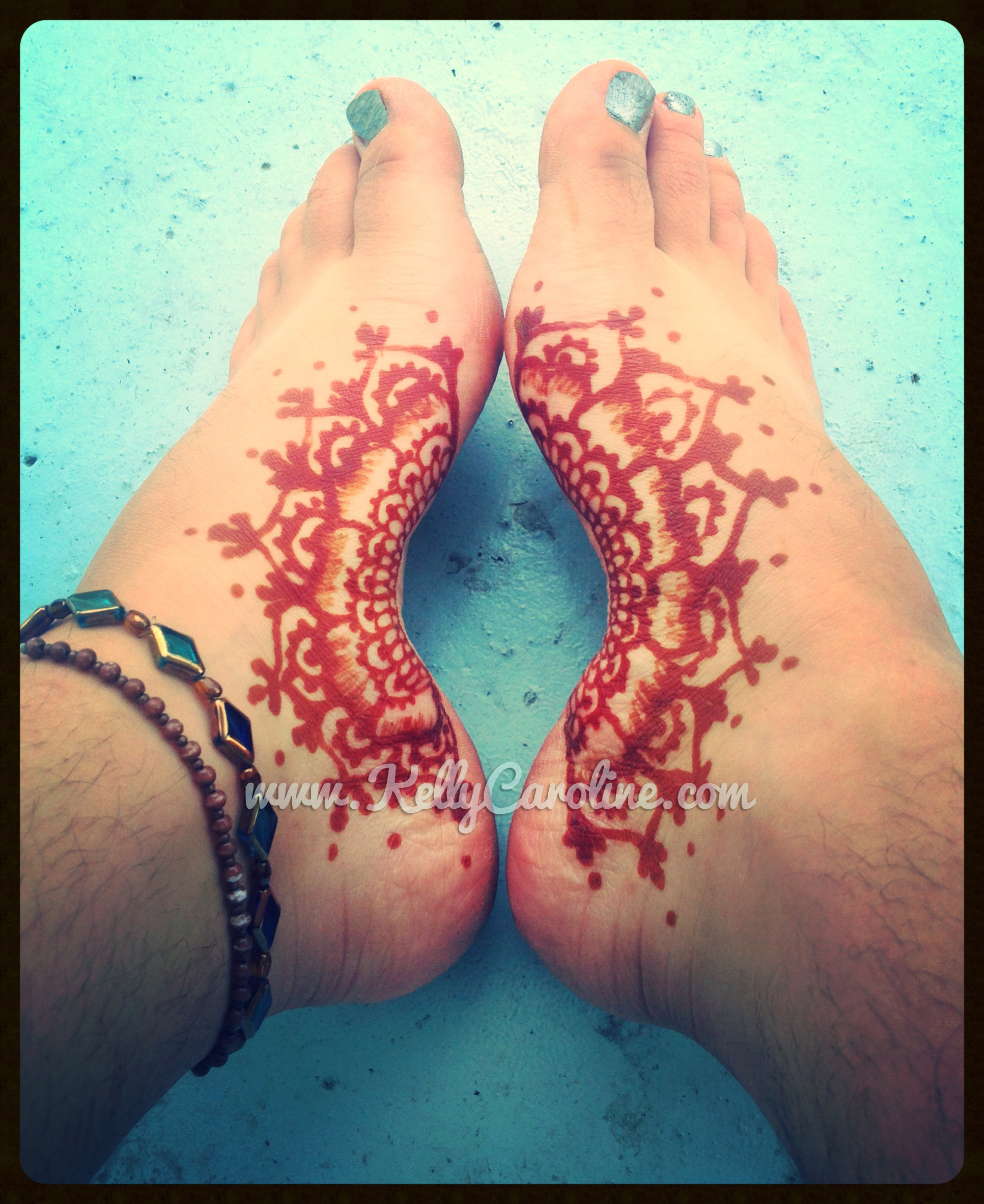 floral foot henna design, floral henna tattoo