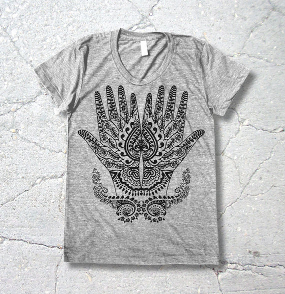 henna hands, screen printed , t shirt, henna tshirt