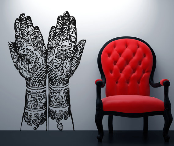 henna, hands, wall decal sticker, mehndi