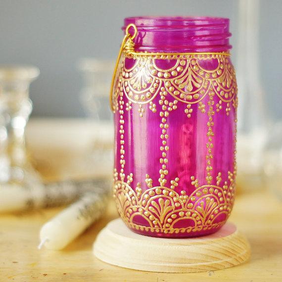 henna , mason jar lanterns, candles