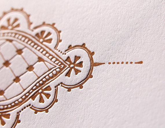 henna, letterpress card