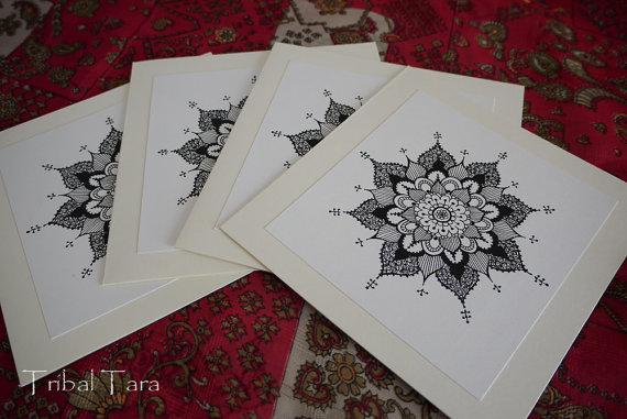 mandala henna, greeting card
