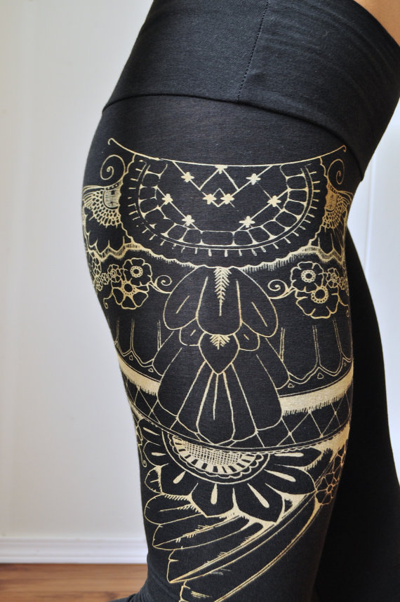 organic henna , leggings, screen printed