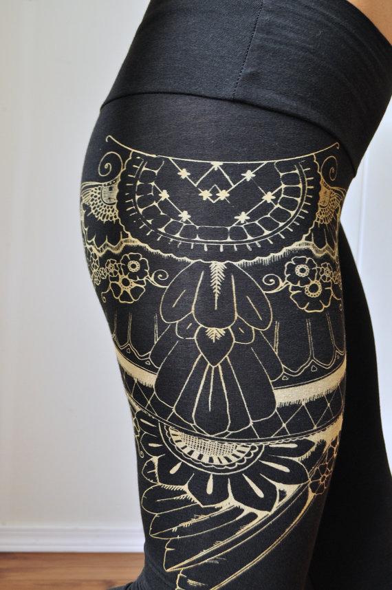 organic henna , leggings, screen printed