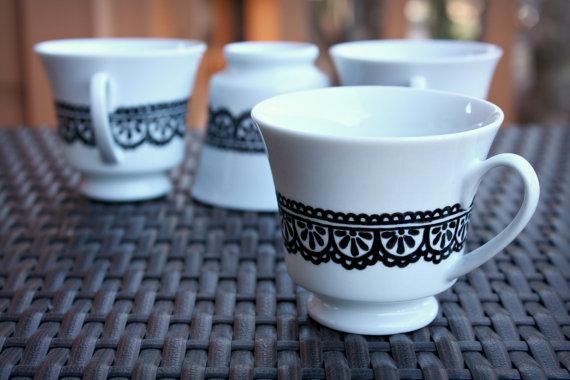 white, henna, teacups