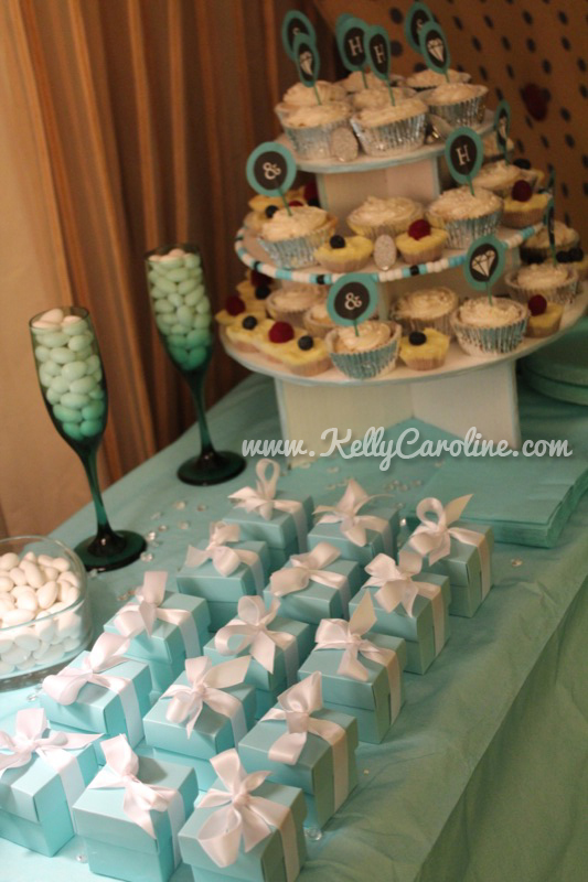 breakfast at tiffanys bachelorette party favors , cupcakes, decorations, diy, dessert table