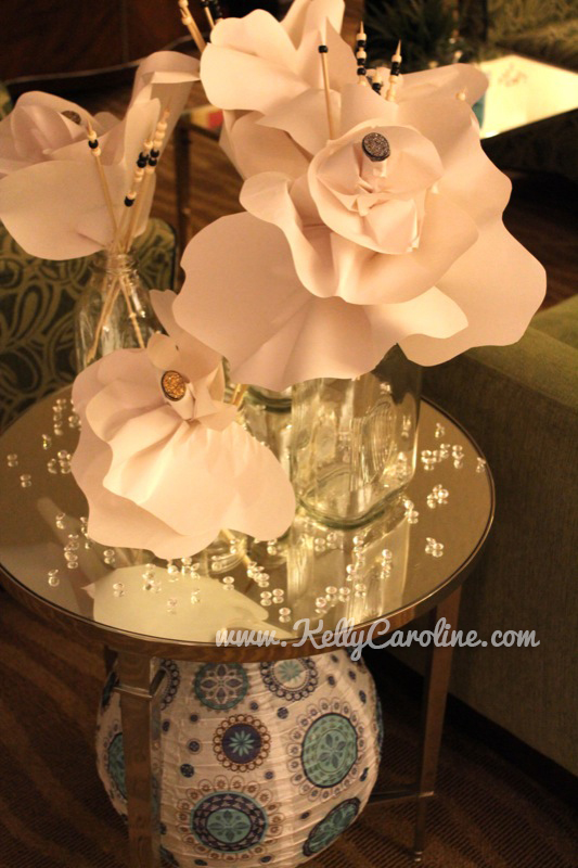 paper flowers, diy , glass beads, diamonds, decorations