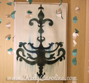 tiffanys themed bachelorette party, decorations, diy, watercolor chandelier