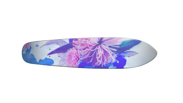 Floral Longboard, purple, teal, custom, design