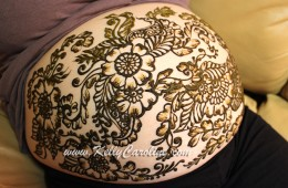 Pregnant Baby Belly Henna Designs