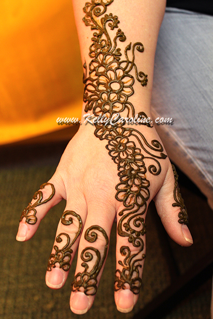 henna, flower, design, trailing, hand, vine