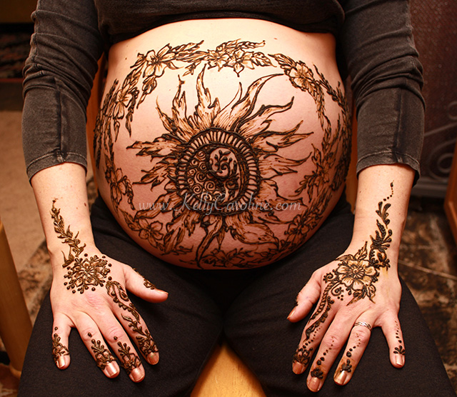 baby belly, henna design, sunflower, floral, prenatal henna design, henna tattoos
