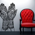 henna hands wall decal sticker