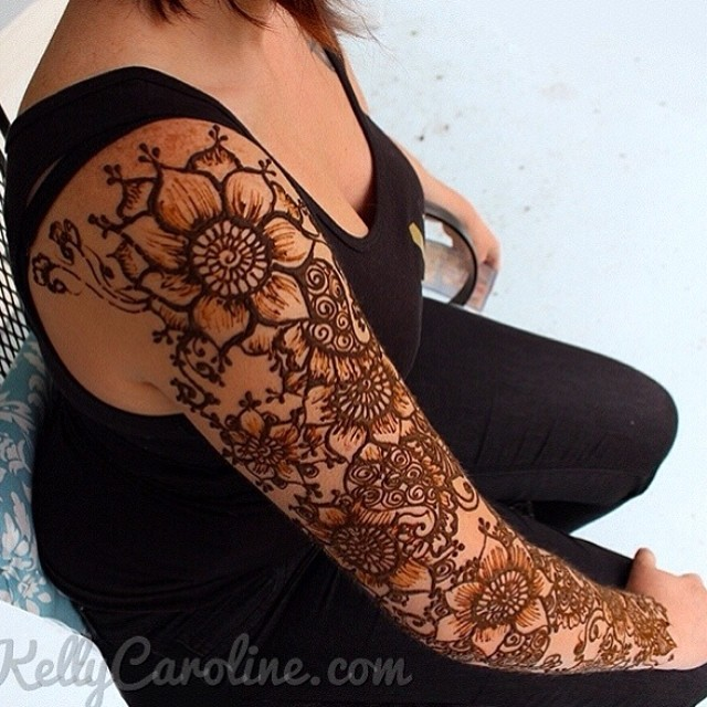 a fun henna tattoo sleeve with flowers and paisleys at my. Black Bedroom Furniture Sets. Home Design Ideas