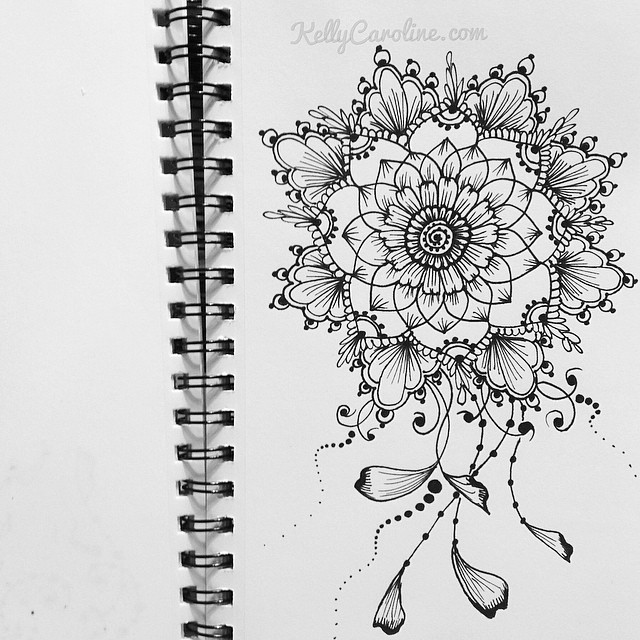 Henna Design In My Sketchbook A Mandala With Vines Kellycaroline