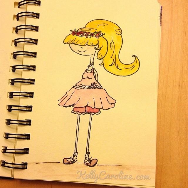 """Well, thanks for asking"" watercolor painting by Kelly Caroline #kellycaroline #watercolors #drawing #art #ypsilanti #artist #sketchbook #ink #pink #dress #blondehair #girl #cartoon #saddleshoes"