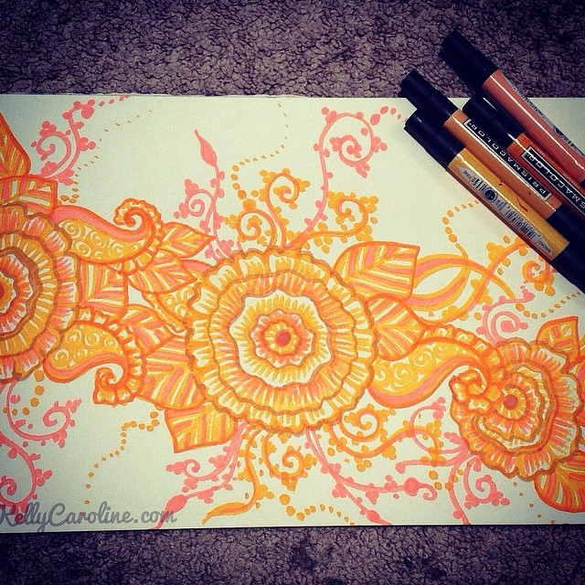 Fun with Prismacolor markers henna style  @prismacolor_art @prismacolorart @prismacolorus #henna #kellycaroline #prismacolors #markers #art #artist #design #pink #orange #mehndi #paisleys #flowers #ypsilanti #ypsi #michigan