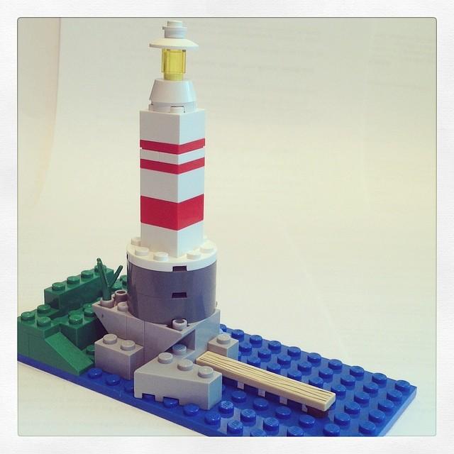 Lego lighthouse I made today @lego #lego #lighthouse #bricks #microsquare #island #summer #vacation #puremichigan #michigan #ypsilanti #ypsi #mackinawisland #kellycaroline #nautical #navy #pier #beach #cliff