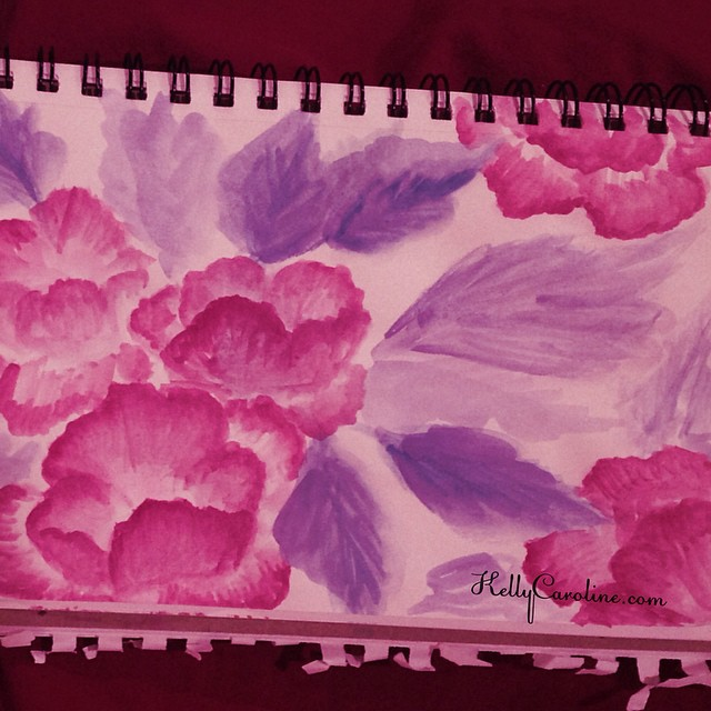 Purple peonies watercolor art . Can't resist capturing the rest of summer on paper. Fall is coming #watercolor #watercolors #flower #flowers #purple #peonies #leaves #sketchbook #art #artist #ypsi #ypsilanti #kellycaroline #red #pink #summer #fall #design