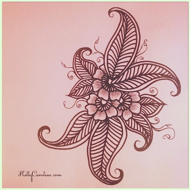 Late Night Sketch Henna Style Flowers Leaves Henna