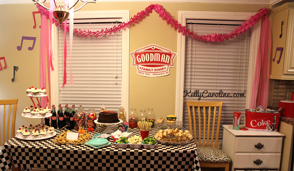 1950s party, decorations, party table, retro, vintage, rockabilly, diy, ideas, 50s party