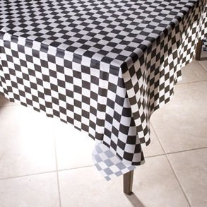 black and white checkered table cloth, 1950s party