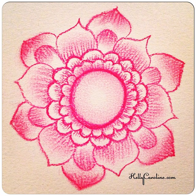Henna Flower practice drawing with my new Conté pencils