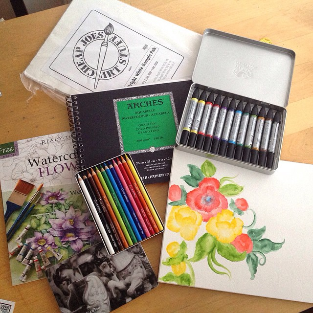 This is what my husand got me for my birthday!! Watercolor paper, conte crayons, a watercolor book and best of all- Windsor & Newton WATERCOLOR MARKERS that i made that painting with this morning!!  #watercolor #watercolors #paint #paints #painting #art #artwork #artist #kellycaroline #ypsi #ypsilanti #michigan #design #color #flowers