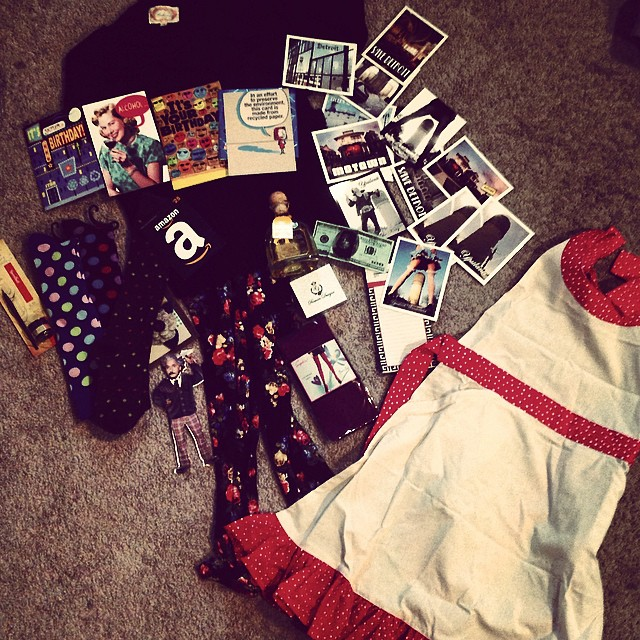 Wow! I'm so blessed to have amazing friends - between an adorable outfit & card from @missyeffinfaye & @breepers13 (&liz&kevin) , Patron from vnation, amazing art postcards & magnets & Alice Cooper money from the very talented @miss_shela , im one blessed girl! Thank you  #ypsi #ypsilanti #michigan #friends #blessed #alicecooper #art #gifts