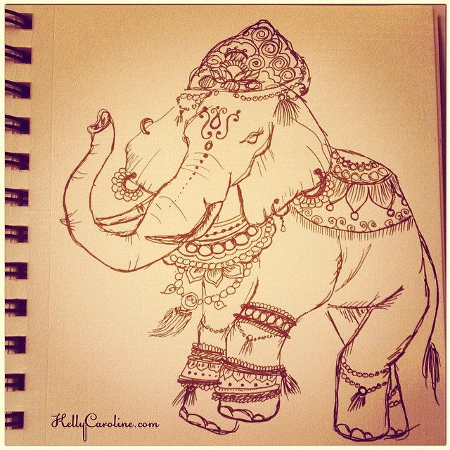 Indian Elephant drawing in my sketchbook for today -inspired by an unknown artist online #elephant #india #indian #henna #mehndi #wedding #jewelry #parade #sketch #sketchbook #draw #drawing #kellycaroline #art #artist #artwork #paper #pen #ink #tattoo #tattoos #tattooideas #ypsi #ypsilanti #michigan #michiganart #style #elephants
