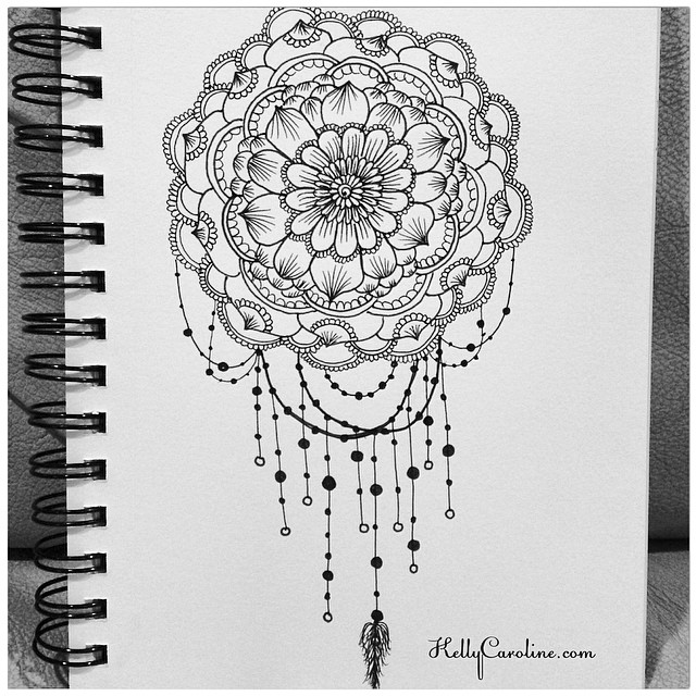 Mandala henna design drawing - with some dreamcatcher and jewelry elements for the sketchbook tonight #henna #hennadesign #hennaartist #hennatattoo #drawing #draw #art #artist #artwork #sketch #sketchbook #jewelry #dreamcatcher #feather #beads #mandala #kellycaroline #ypsi #ypsilanti #michigan #michiganart #paper #blackandwhite