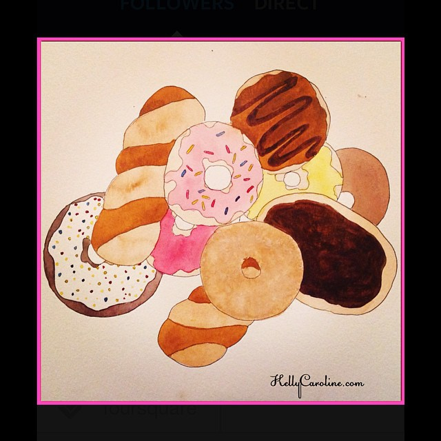 Sprinkley doughnuts are man's best friend. #watercolor #watercolors #paint #painting #kellycaroline #art #artist #design #doughnuts #sprinkles #food #picture #michigan #ypsi #ypsilanti #artwork #paintbrush #frosting #chocolate #dessert #cinnamon