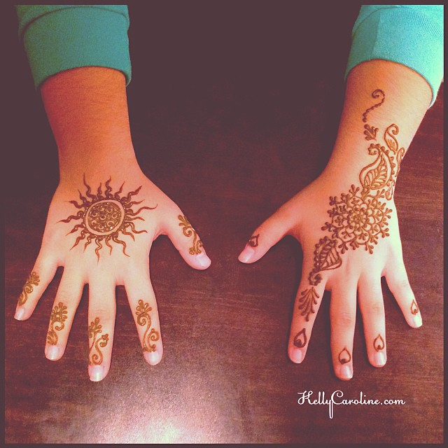 Two henna designs for the top of the hand for the birthday girl