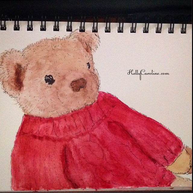 """Buddy Bear"" – a watercolor of my little guy's bear he sleeps with every night – i love his cable knit sweater"