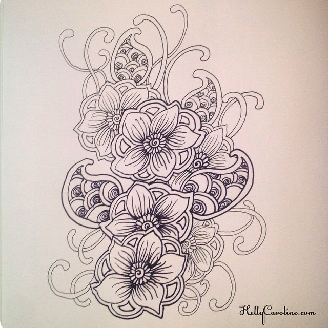 Floral, Paisley, Vines oh my! This is a really fun design, would make a great henna tattoo on the thigh or lower back #henna #tattoo #tattoos #tattoodesign #mehndi #drawing #draw #paper #ink #kellycaroline #michigan #hennaartist #sketch #book #paper #paisley #vines #yoga #ypsilanti #ypsi #flower #flowers