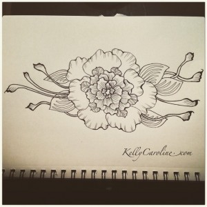 henna style flower tattoo design by Kelly Caroline Henna Michigan