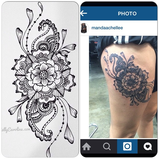 THE most flattering compliment as an artist is when an individual connects so deeply with your art that they choose to have it tattooed on them forever. @mandaachellee found this drawing piece on Pinterest of mine and had it done on her thigh. It looks FANTASTIC on her! So lovely