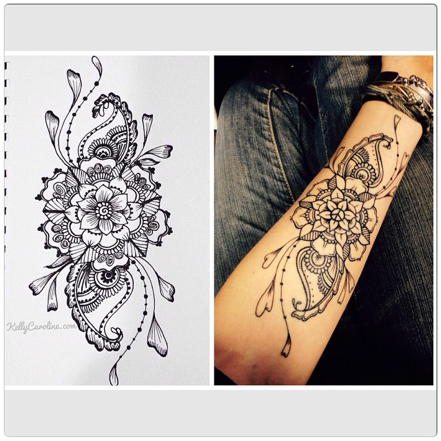 Check out this lovely permanent tattoo on @theklemm inspired by my drawing ! How sweet she sent me a photo after it was done - I love her addition of the peace sign in the middle - so beautiful  #tattoo #tattoos #draw #drawing #henna #hennas #ink #flower #flowers #pinterest #blackandwhite #art #artist #kellycaroline #oregon #michigan #sketch #inked