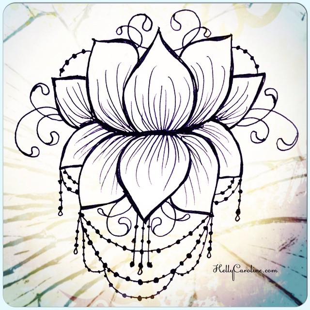 Here's a new lotus flower henna tattoo design – I would love to do this on the back, between the shoulders. Another sample from my latest henna ebook!