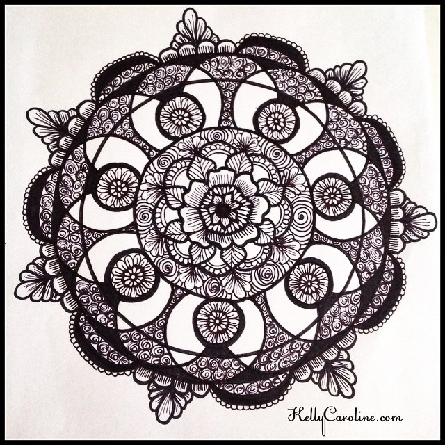 Mandala henna tattoo design I drew today - floral with swirls - henna michigan #henna #hennas #hennaart #tattoo #tattoos #hennamichigan #michigan #michiganart #kellycaroline #design #draw #drawing #blackandwhite #flower #flowers #floral #shading #shaded #sketch #sketchbook #annarbor #art #artist #paper #ink #india #mandala #swirls #symmetry
