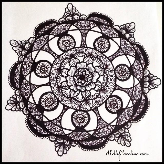 Mandala henna tattoo design I drew today – floral with swirls – henna michigan