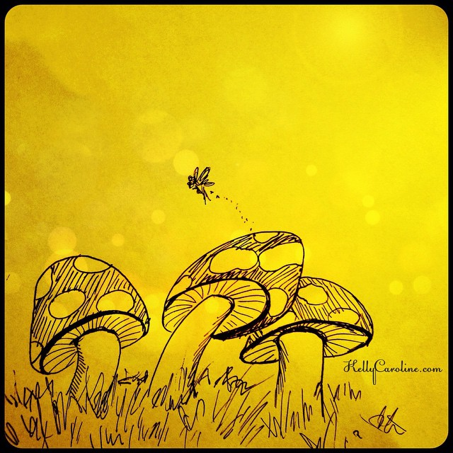 Mini mushroom field and a tiny little fairy - there's beauty in the small details of life #mushrooms #mushroom #draw #drawing #yellow #watercolors #painting #ink #fairy #pretty #beauty #forest #wild #grass #nature #flying #bubbles #kellycaroline #design #detroit #artist