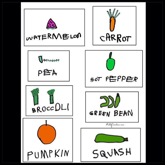 Perfect Springtime project! My son drew and wrote out the names of these fruits & veggies and I scanned & colored them in Photoshop. You can print these out and laminate them or put them in ziplock baggies to make them waterproof & use them as plant markers