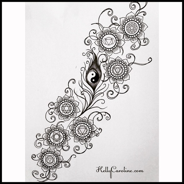 This is the result from a very interesting tattoo design request I got this week. I needed to integrate the 7 chakra symbols with floral elements, flowing with a peacock feather with a yin yang in the center. My client was very pleased with the result and so was I. #chakra #symbols #tattoo #tattoos #tattoodesign #ink #inked #michigan #peacock #feather #yinyang #yoga #yogi #peace #flower #flowers #kellycaroline #design #art #artist #draw #drawing