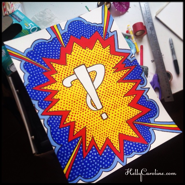 Interrobang painting completed #interrobang #paint #painted #painting #acrylic #red #yellow #blue #comic #comicbook #dots #sketch #sketchbook #gift #superhero #expression #questionmark #explosion #kellycaroline #art #artist #michigan #michiganart #colors #tattoo #design #designs