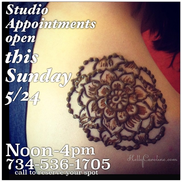 Studio Appointments available this Sunday 5/24 between noon-4pm. Call to reserve your spot today ! #henna #henna #michigan #ypsilanti #annarbor #royaloak #canton #saline #ypsi #tattoo #tattoos #tattoodesign #mehndi #mandala #floral #flower #flowers #shouldertattoo #michiganart #michiganinstagrammers #kellycaroline #studio #weekend
