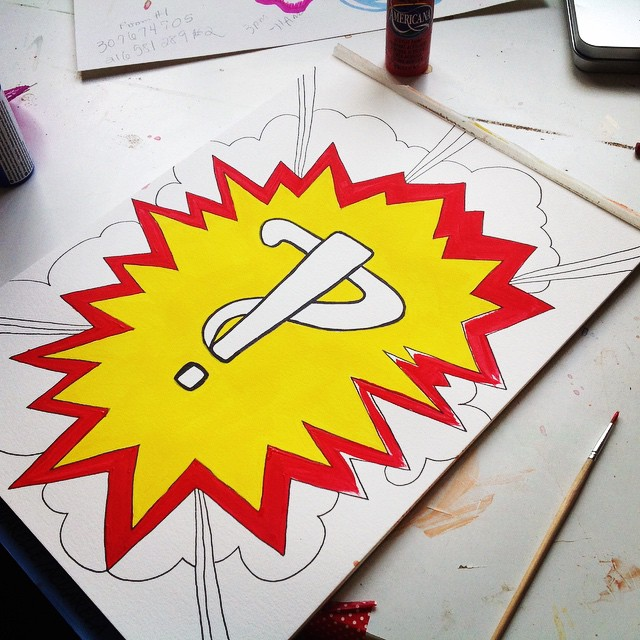 Work in progress Interrobang #wip #paint #painting #acrylic #interrobang #canvas #workinprogress #questionmark #ink #tattoo #yellow #red #art #artist #kellycaroline #michigan #michiganart #draw #drawing #sketch #sketchbook #expression #giftsuperhero #comic #comicbook